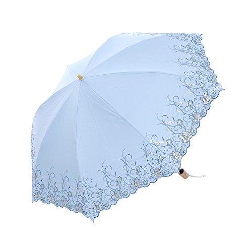 Honeystore Regenschirm, Taschenschirm Blumen Sonnnenschirm mit 85 cm Durchmesser Hellblau
