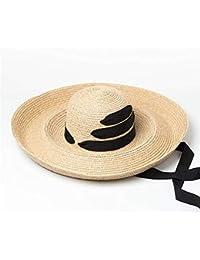 Mujer a lo largo del sombrero para el sol Mujeres Suave Ligero Transpirable  Sombrero de Paja Plegable Protección… 850332e014f
