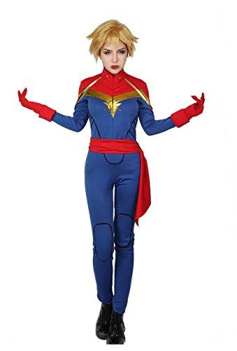 PandaCos Captain Marvel Kostüm Damen Costume 3er Set Jumpsuit+Gürtel+Handschuhe Elastisch aus Polyesterfasern Cosplay Outfit Deluxe Film Zubehör