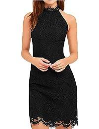 U8Vision Damen Wimpernspitze Elegant Abendkleider Mini Rückenfrei Sommerkleid Cocktailkleid Partykleider Gr.S-XXL