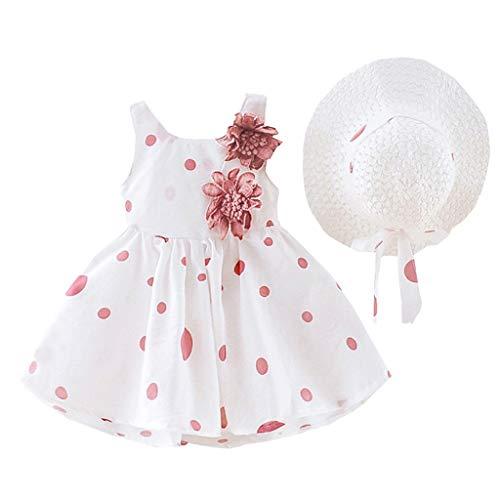 Baby Mädchen Kleid, Ärmelloses O-Neck-Kleid Blumenschleife Prinzessin Sommerkleider Festes Kleid mit Hut ()