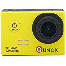 QUMOX Original SJ5000 - Cámara de Deporte para casco Impermeable, Video de Alta definición 1080p Full-HD de 2.0 pulgadas 2'' 170 ° Lente Submarino HD impermeabilizan la videocámara DVR, Color Amarilla