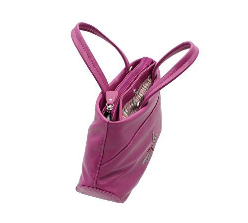 Grab Bag in pelle Mala AZURE Collection morbida pelle con tracolla 783_81 Magenta Magenta