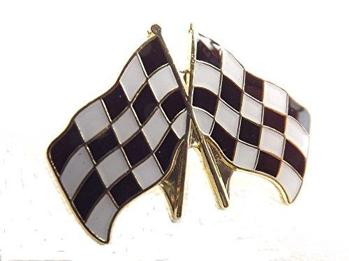 Anstecknadel, Metall, Email, Motiv Gekreuzte Racing Flags (Zum Aufstecken, Motiv Golfflagge mit Schachbrettmuster) (Polo-pin)