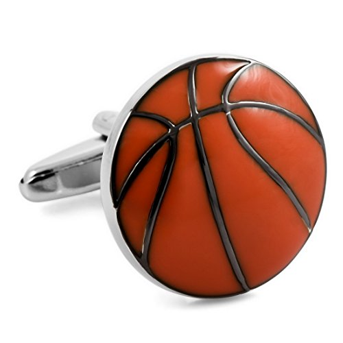 Inblue Herren 2Pcs rhodiniert Manschettenknöpfe Schwarz Rot Basketball Shirt Hochzeit Business ()
