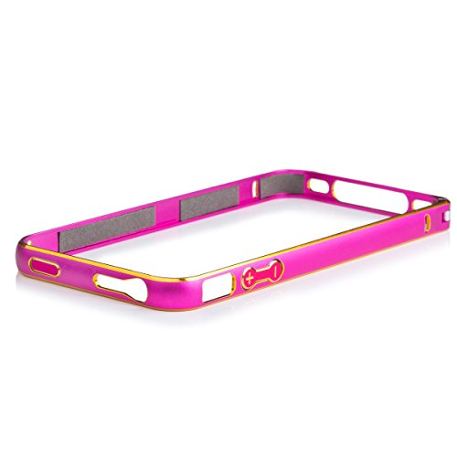 iCues Apple iPhone 4/4S |  Alu Bumper Bicolor Pink | [Display Schutzfolie Inklusive] CNC Aluminium Metall Metallic Rahmen Case Hülle Schutzhülle Alubumper - Aluminium 4s Iphone Case Bumper