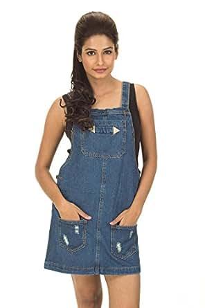 Trendbae Blue Denim Solid Dungaree Dress For Women
