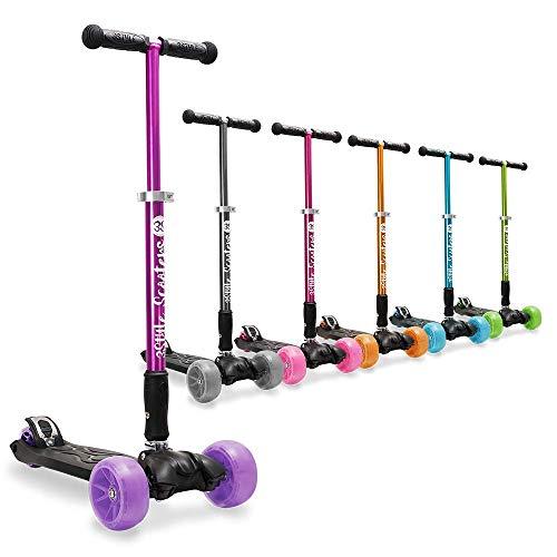 3StyleScooters® RGS-3 Patinete de 3 Ruedas para niños Grandes niños Mayores de 7 años - diseño Plegable, Ruedas LED de 2 Pulgadas, Asas de Altura Ajustable, Infantil, RGS-3, Morado, 7+
