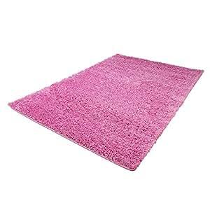 shaggy teppich flauschiger hochflor wohn teppich einfarbig uni in pink f r wohnzimmer. Black Bedroom Furniture Sets. Home Design Ideas