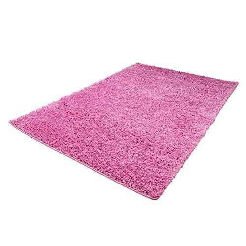 (Shaggy-Teppich, Flauschiger Hochflor Wohn-Teppich, Einfarbig/Uni in Pink für Wohnzimmer, Schlafzimmmer, Kinderzimmer, Esszimmer, Größe: Läufer 60 x 110 cm)