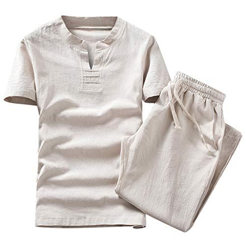 CICIYONER Leinenhemd + Leinenhose Herren Sommer Mode einfarbig Baumwolle und Leinen Kurzarm Hose Set Anzug Trainingsanzug (Größe: XXL=EU-L, Beige1) -
