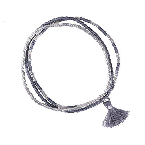 KELITCH 3 Kreis Handmade Freundschaftsarmbänder Zierlich Matt Samen Perlen Elastische Schnur Urlaub Armband mit Quaste, Grau