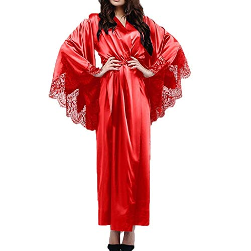 Dkny-pyjama (TDFGCR Frauen Sexy Spitze Satin Kimono Lange Robe Bademantel Dessous Nachtwäsche Gürtel Pyjamas-rot L)