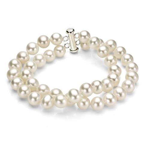 Argent sterling 2-rows 6–6,5mm Blanc perle de culture d