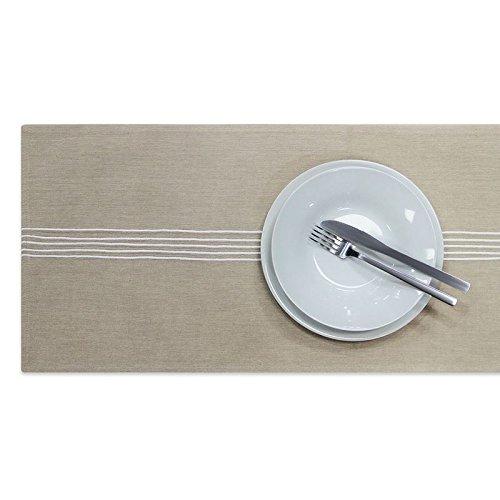 Oxford Stripe Tischläufer, 100% Baumwolle, moderne Tisch Leinen gestreiftem Stoff, bestickt, Luxus natürlichen Geschirr, leinen, 33cm x 230cm (Baumwolle Oxford 100%)