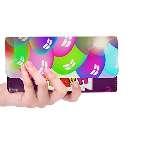 Einzigartige benutzerdefinierte Alles Gute zum Geburtstag Luftballons Alles Gute zum Geburtstag Gruß Frauen Trifold Wallet Lange Geldbörse Kreditkarteninhaber Fall Handtasche