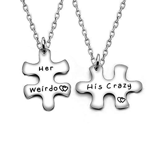 AGR8T Valentine Paar Anhänger Halskette Familie-Geschenke –, Weirdo Seiner Crazy–Freundin Jewelry Set 2 - Silber Lehrer Armband