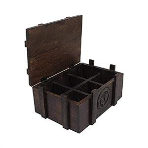 Storeindya Thanksgiving Boîte à thé en bois Porte-sacs cafe six tiroirs pour organisateur de boîtes rangement de la cuisine Étuis avec une forme tasse Marque-page remerciements, qui donnera cadeaux