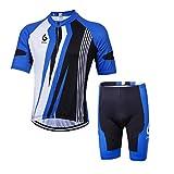 GWELL Herren Radtrikot Atmungsaktive Fahrradbekleidung Set Trikot Kurzarm + Shorts mit Sitzpolster für Radsport Blau M