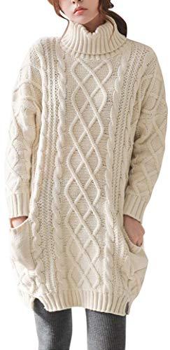 LinyXin Cashmere Damen Winter Kaschmir Langarm Rollkragen Pullover aus Wolle Kleid Gestrickter Sweater Pullover Kleid (L / 46, Beige)