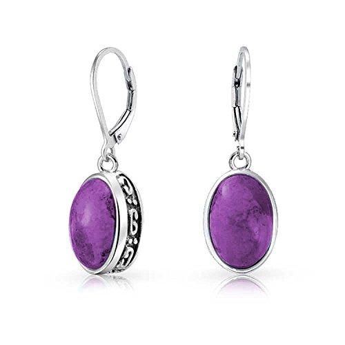 3Ct Estilo Estabilizado Oval Turquesa Violeta A Piedras Preciosa Bisel Colgante Pendiente De Plata Esterlina 925 Mujer