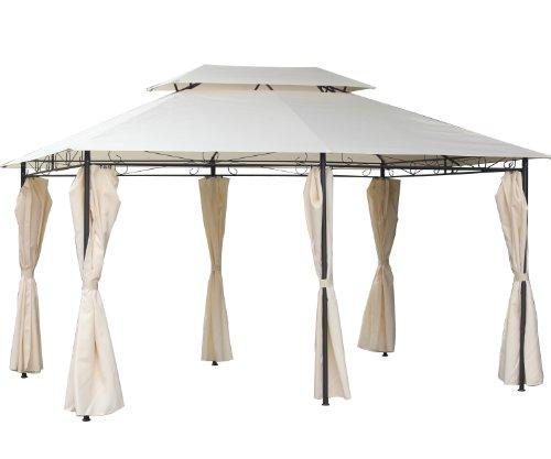 habeig WASSERDICHT Pavillon ~ 3x4m Seitenwände mit 310g/m² Dach mit PVC | Festzelt Partyzelt Gartenlaube Gartenzelt Gartenpavillon Beige