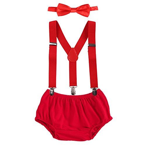 Obeeii Baby 1. / 2. Geburtstag Outfit Neugeborenen Kinder Bloomer Shorts + Fliege + Clip-on Hosenträger 3pcs Bekleidungssets für Foto-Shooting Kostüm Rot (Leinen-strickjacke Kaschmir)