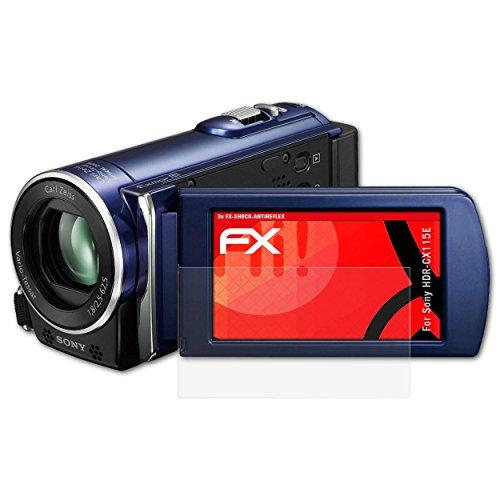 atFoliX Sony HDR-CX115E Antichoque Película Protectora - 3 x FX-Shock-Antireflex sin Reflejos Que Absorbe los Golpes Anti-Choque Lámina Protectora de Pantalla