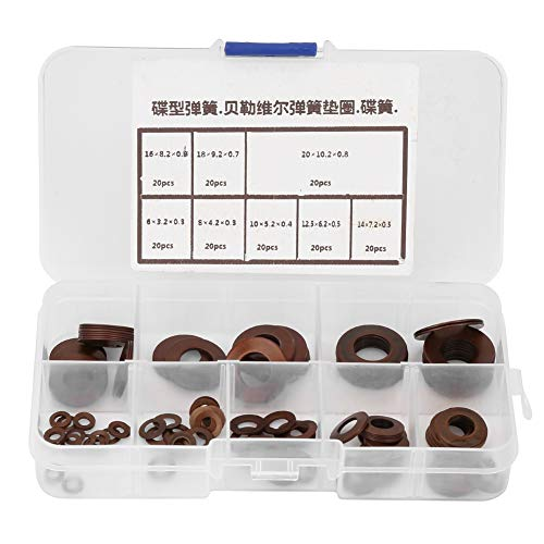 160pcs Unterlegscheiben, 1 Schachtel Tellerfeder 8 Stahlscheibenwaschanlage Kompaktgerät für Kupplungen, Sicherheitsventile -