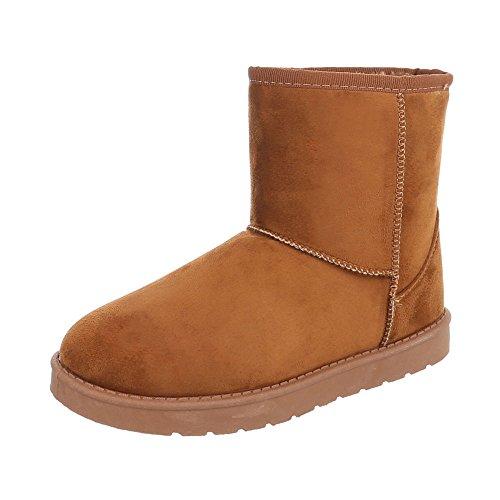 Ital-Design Stiefel & Boots Kinder-Schuhe Klassischer Stiefel Mädchen Stiefeletten Camel, Gr 35, 781-1-