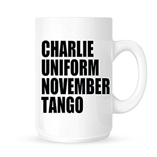 zmvise Charlie Uniform November Tango Fashion Zitate weiß Keramik Tasse Perfect Christmas Halloween Gfit