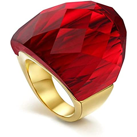 Acciaio Inossidabile Anello da Donna, Fidanzamento Formato Di Cristallo Rosso Enorme - Adisaer