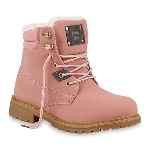 Damen Schuhe Stiefeletten Worker Boots Warm Gefütterte Outdoor 153745 Rosa Autol 36 Flandell