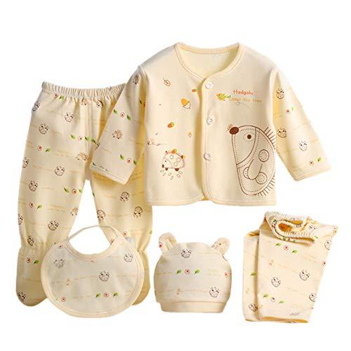 HCFKJ Ropa Bebe NiñA Invierno NiñO Manga Larga Camisetas Beb Conjuntos Moda 5PCS Bebé ReciéN Nacido NiñA De Dibujos Animados De Manga Larga Tops Hat Pantalones Traje Babero Conjunto