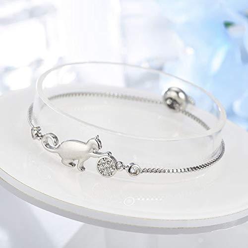 QUNIMD Katze Und Ball Niedlich Verstellbares Armband Und Armband Einfaches Silberarmband