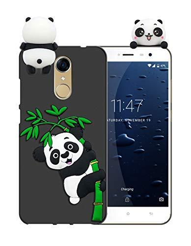 Sunrive Für Cubot Note Plus (2017) 5,2 Zoll Hülle Silikon, Handyhülle matt Schutzhülle Etui 3D Case Backcover Tiere Muster Cover Handy Tasche Bumper(W1 Panda 2)+Gratis Universal Eingabestift