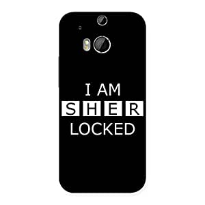 Impressive Sher Locked Black Back Case Cover for HTC One M8