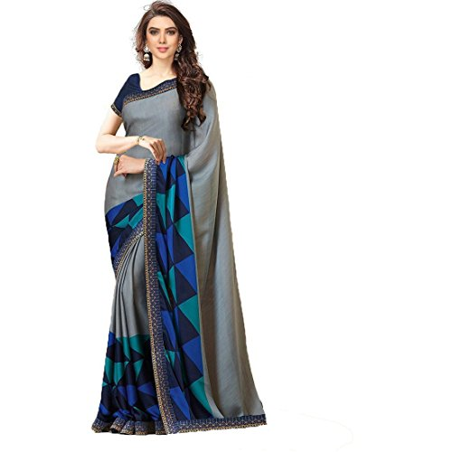 TRYme Fashion Women's Chanderi Cotton Embroidered Saree with Banglori Silk Unstitched Blouse(New Collection Sari T1_Grey_Free Size)