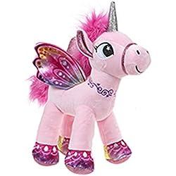 Unicornio con alas de pie 34 cm color rosa - Calidad supersoft