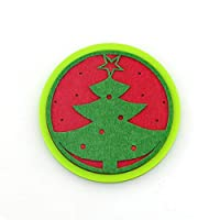 Christmas Tree Round Silicone Non-Slip Insulation Absorbent Washable Pad Christmas Round Silicone Insulated Coasters Can Absorb Water