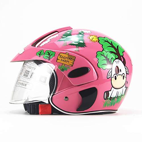 GHF Bambino Casco Motocicletta Uomini E Donne Piccolo Bambino Cappello Duro Mezzo Casco,Pink