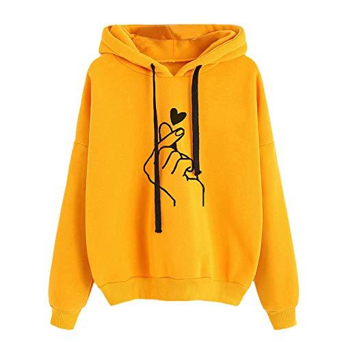 Damen Mode Druck Cropped Pullover Kapuzenpullover Crew Neck Langarm Kapuzenpullis Kapuze Sweatshirt Tops Bluse Kapuzen ()