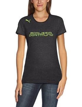 PUMA BVB T Shirt Fan Tee - Camiseta ( Borussia Dortmund ), color gris oscuro, amarillo neón, talla 44
