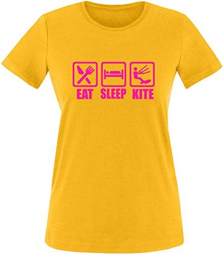 EZYshirt® Eat Sleep Kite Damen Rundhals T-Shirt Gelb/Pink