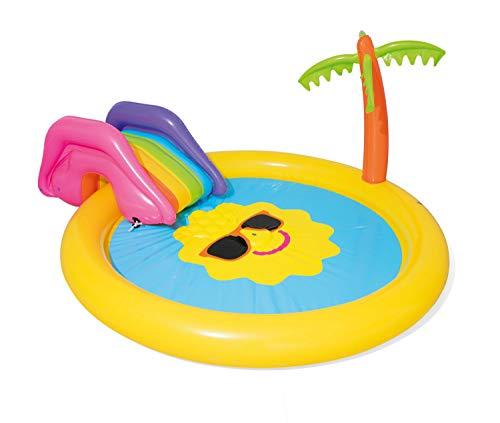 Bestway piscina gonfiabile isola del sole 53071, 237x201x104 cm, con scivolo e palma