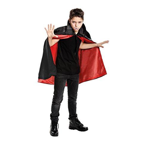 Kostümplanet® Vampir-Kostüm für Kinder Junge und Mädchen Größe 140 Umhang + extra Vampir Zähne Dracula-Kostüm Farbe rot schwarz (Dracula Kinder Kostüme)