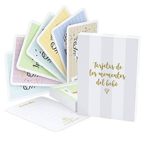 Tarjetas de Etapas del Bebé y Caja de Recuerdos, 40 Tarjetas de Fotos de Momentos Especiales Unisex, con los Logros de Edades Claves y Embarazo, el Regalo Ideal para la Futura Mamá (Español)