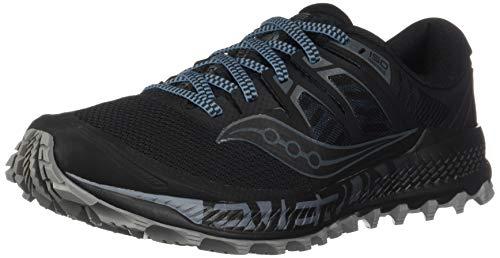 Saucony Men's Peregrine ISO Trail Running Shoe, Black/Grey, 10.5 W US
