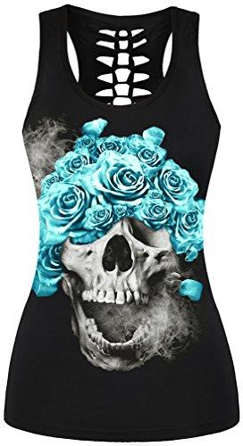 EmilyLe Femme Débardeur à Imprimé Gothique Motifs fantaise Tête de Mort T-Shirt sans Manche Punk Noir-04