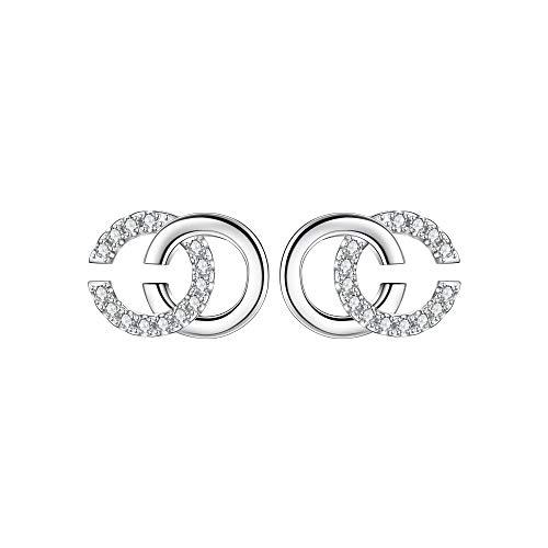 Lydreewam Ohrringe Silber 925 Damen Initiale Alphabet Doppel C Ohrstecker mit 3A Zirkonia, Durchmesser 12mm